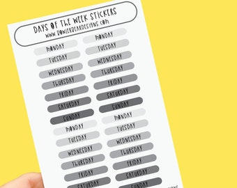 Days of the week Sticker sheet - Set of 2 A6 Monochrome sheets - Planning Stickers