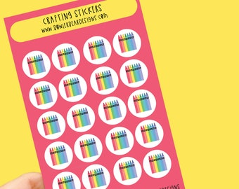 Crafting sticker sheet - Rainbow sheet - Planning Stickers - Crayon Stickers