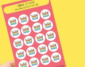 Crown sticker sheet - Rainbow sheet - Planning Stickers - King, Queen stickers