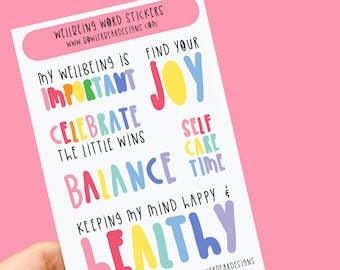 Wellbeing words sheet - Rainbow sheet - Planning Stickers