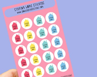 Staying home Sticker sheet - Rainbow sheet - Planning Stickers - Covid Stickers