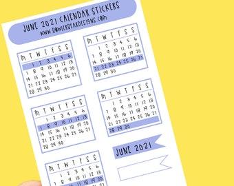 June Calendar Stickers - Monthly Planner sticker - Rainbow Sticker