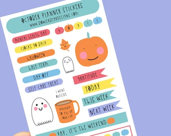 October Planner Sticker sheet - Journal Stickers - Monthly tracker stickers