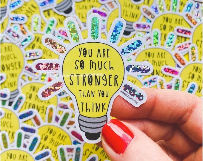 Featured listing image: Light Bulb Sticker - Vinyl Glitter Sticker - Mental wellbeing Sticker