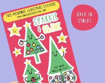 Christmas Tree Sticker sheet - Christmas stickers - Christmas Journaling decoration