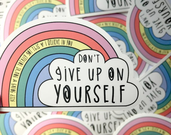Rainbow vinyl. Motivational sticker. Positive Art.