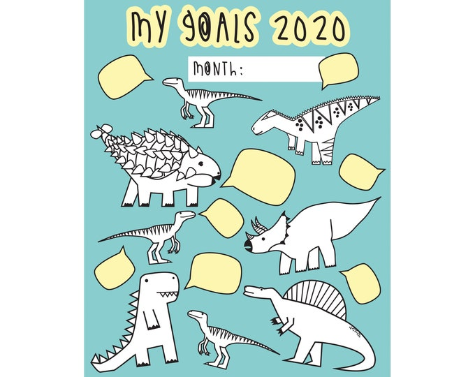Featured listing image: 2020 goals - digital print - Dinosaur colouring page