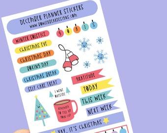 December Planner Sticker sheet - Journal Stickers - Diary Stickers - Calendar Stickers