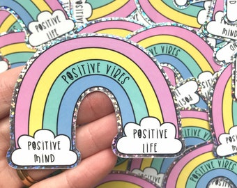 Positive Vibes Glitter Vinyl Sticker - Mental health sticker - quote sticker - colourful