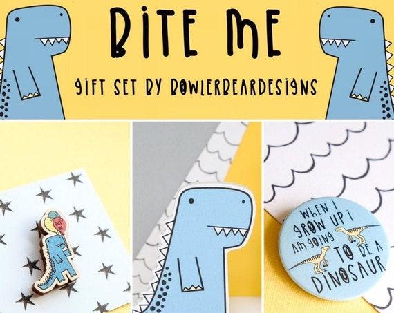 Dinosaur gift set. Shelfie and Pin badge set.