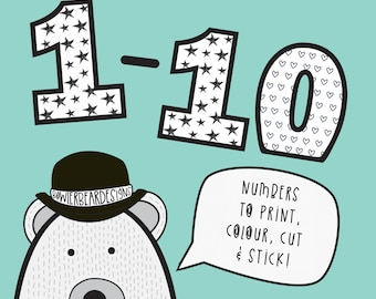 Numbers Colouring sheet - Activity print out - digital download