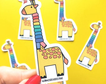 Rainbow Giraffe - Rainbow vinyl - colourful sticker
