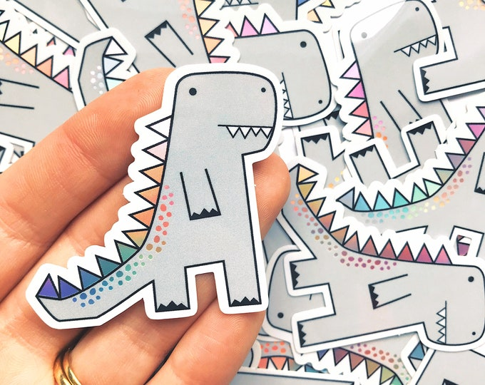 Trex Dinosaur sticker - Dinosaur vinyl sticker - Holographic sticker - Holographic vinyl