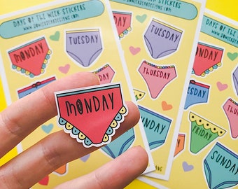 Pants Sticker sheet - A6 Days of the week Sticker sheet - Journal Stickers