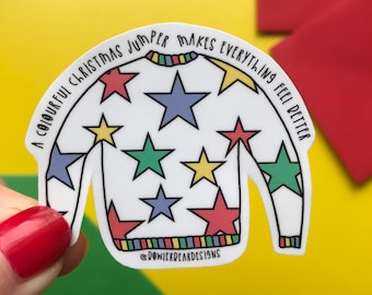Christmas Jumper Sticker - Christmas vinyl - Colourful Christmas sticker