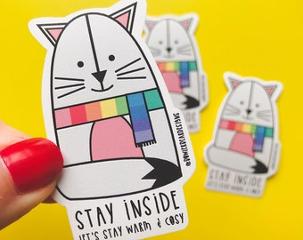 Rainbow Cat - Rainbow vinyl - colourful Cat sticker