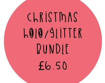 Christmas Sticker Bundle - Large Holographic & Glitter stickers