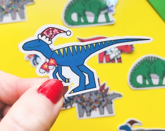 Christmas Dinosaur sticker - Raptor vinyl sticker - Glitter sticker