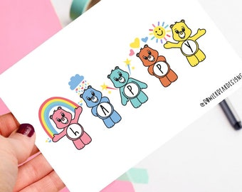 Happy postcard - Bears postcard - Rainbow postcard