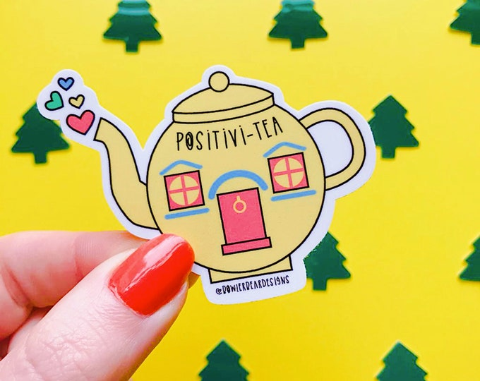 Featured listing image: Teapot Sticker - Positive Sticker - Nostalgic Christmas Sticker