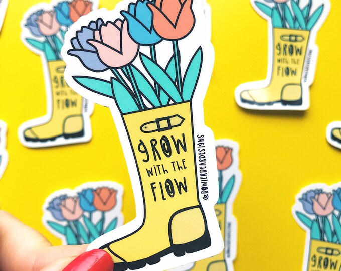 Featured listing image: Grow sticker - Colourful vinyl - positive quote sticker