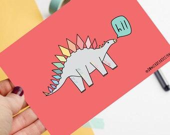 Rainbow Dinosaur - Positive postcard - Hi postcard