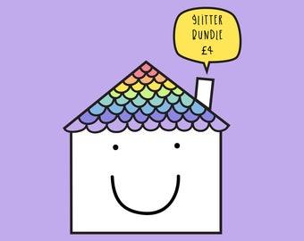 Glitter sticker bundle - Positive vinyl sticker set of 3.