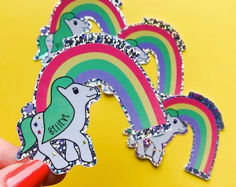 Christmas Pony Sticker - 80's Sticker - Nostalgic Christmas Sticker