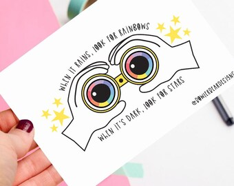 Positive postcard! - Rainbow postcard - colourful illustration