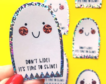 Ghost Sticker - Glitter Ghost Vinyl - Kawaii Ghost Sticker