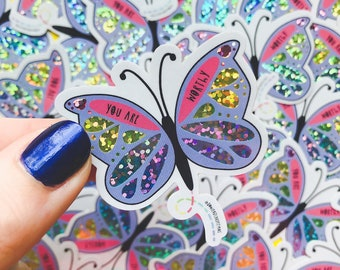 Butterfly Sticker - Vinyl Glitter Sticker - Mental wellbeing Sticker