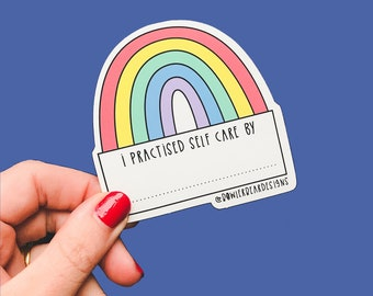 Self Care sticker - Self reflection - Write on me - Rainbow Sticker