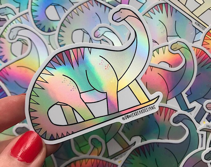 NEW VERSION Diplodicus Dinosaur sticker - Dinosaur vinyl sticker - Holographic sticker - Holographic vinyl