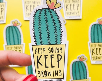 Cactus sticker - Motivational sticker - Mental health sticker - Plant vinyl sticker