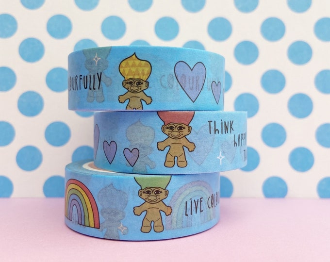 Troll & Rainbow Washi Tape - 90's Nostalgia Stationary