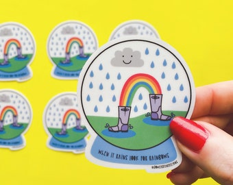 Rain Snow Globe Sticker - Positive sticker - Weather sticker