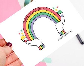 Rainbow postcard - Christmas postcard - Colourful postcard