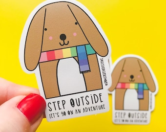 Rainbow Dog- Rainbow vinyl - colourful Puppy sticker