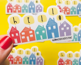 Christmas houses sticker - Hello vinyl sticker - Christmas Sticker