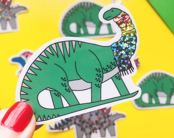Christmas Dinosaur sticker - Diplodicus vinyl sticker - Glitter sticker