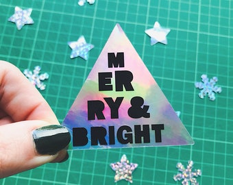 Merry & Bright Christmas Sticker - Holographic stickers - Pack of 2