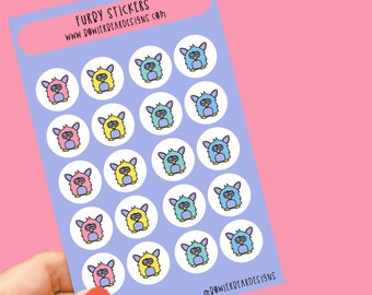 Furby Sticker sheet - Rainbow sheet - Planning Stickers - Retro Stickers