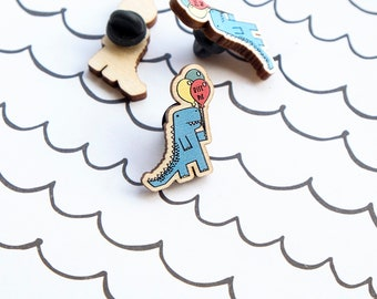 Dinosaur pin badge - Mental health awareness - Bite me lapel pin