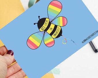Bee postcard - Motivational postcard - Rainbow Bee postcard