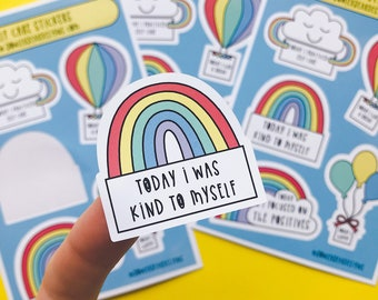 Self Care Sticker sheet - A6 Rainbow sheet - Wellbeing Stickers