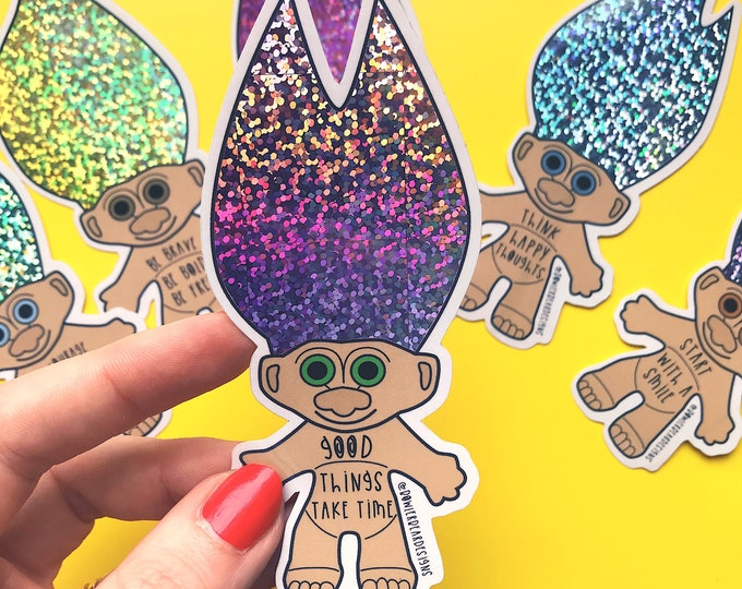 Troll Sticker - 90's nostalgia - positive sticker - Time Sticker - Troll Doll