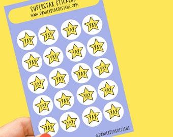 YAY sticker sheet - Star stickers - Planning Stickers - daily stickers - teacher stickers