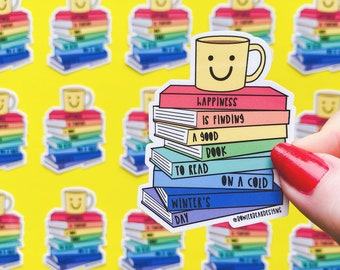 Rainbow Books Sticker - Cuppa sticker - Colourful Sticker