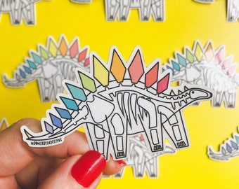 Dinosaur Sticker - Transparent Skeleton Vinyl
