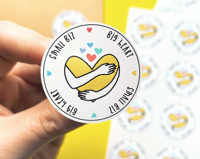 Featured listing image: Small biz, Big heart - Small business stickers - Packaging label